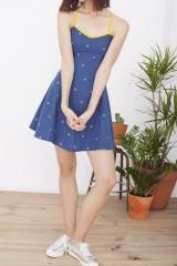 Vestido Hilda azul cobalto con tirantes cruzados