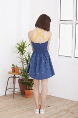 Hilda blue dress with straps on the back