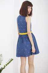 Vestido vintage Herminia azul estampado