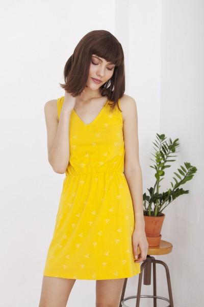 Vestido Hilla amarillo escote espalda