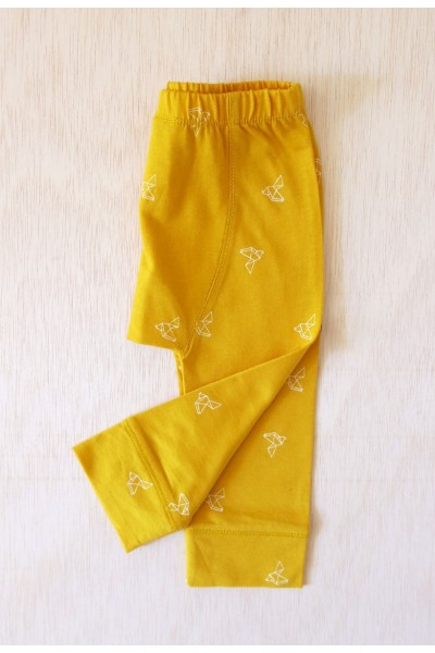 Yellow origami bird print babe pants