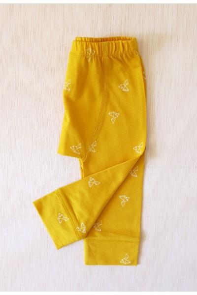 Yellow origami bird print babe pants
