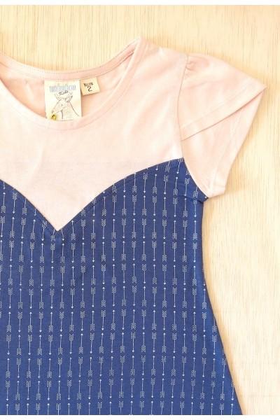 Vestido evasé azul cobalto estampado