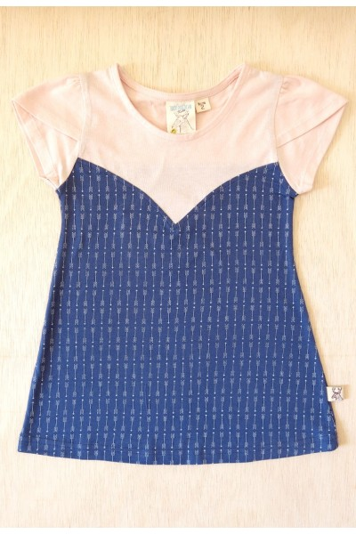 Blue flared dress with arrow print