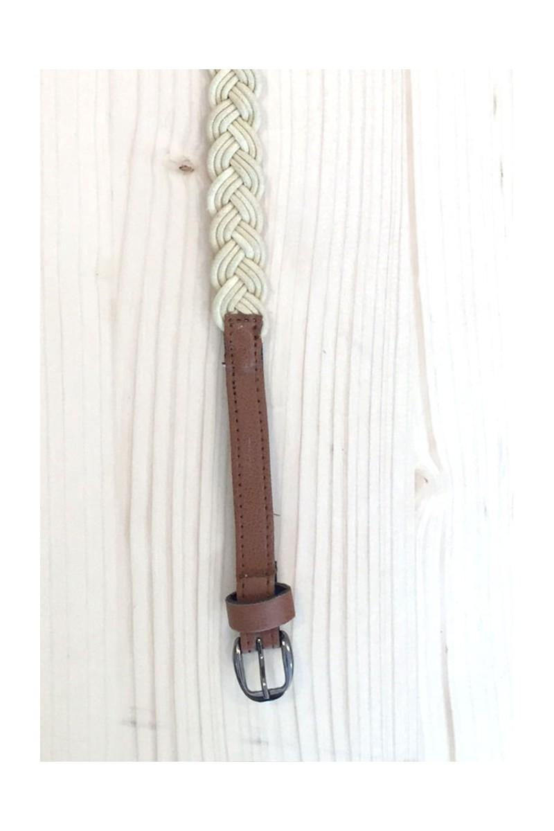 Cinturón trenzado blanco