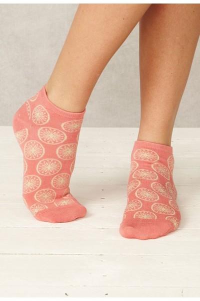 Calcetines rosas tobilleros de bambú y algodón orgánico