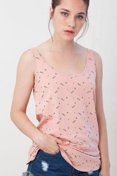 Camiseta reversible Isabella rosa estampado abstracto