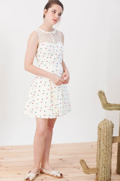Isadora dress with boat print