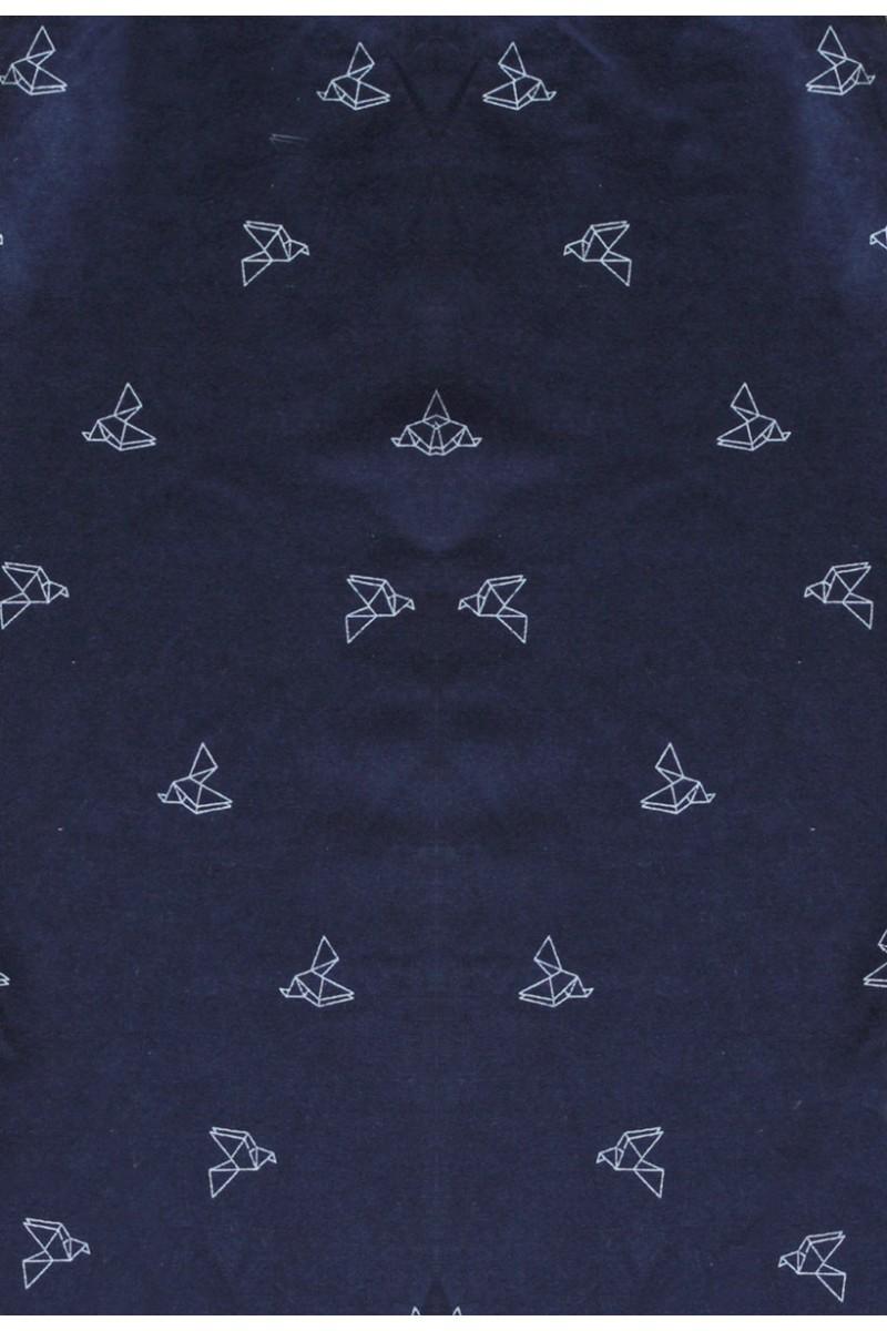 Vestido de tirantes azul marino con estampado de pájaros origami