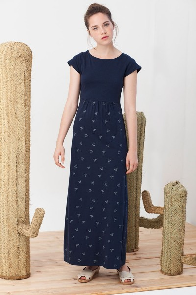 Irene Maxi dress in navy blue with origami print.