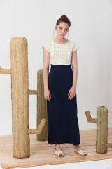 Maxi vestido conbinado Irene en azul y triángulos.