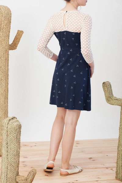 Irina dress in navy blue with origami print.
