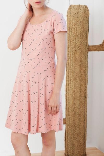 Vestido rosa Isabel estampado abstracto.