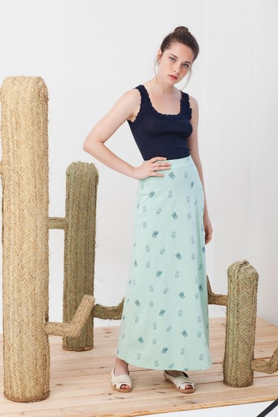 Irma maxi skirt in light green.
