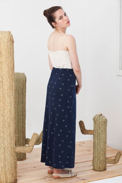 Irma maxi skirt in navy blue.