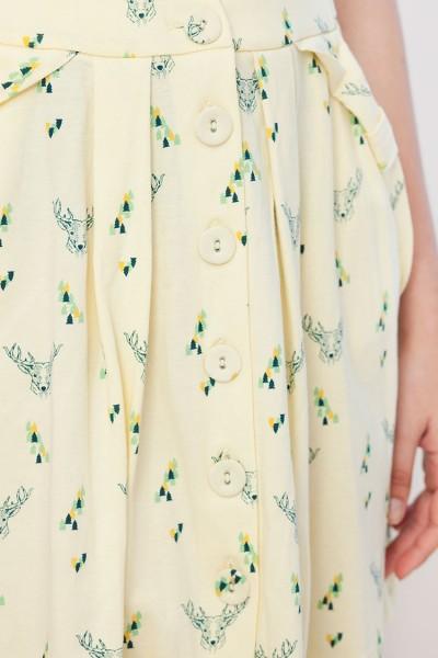 Falda botones Isa amarillo con estampado de ciervos