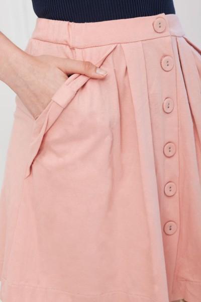 Pink plain buttoned skirt