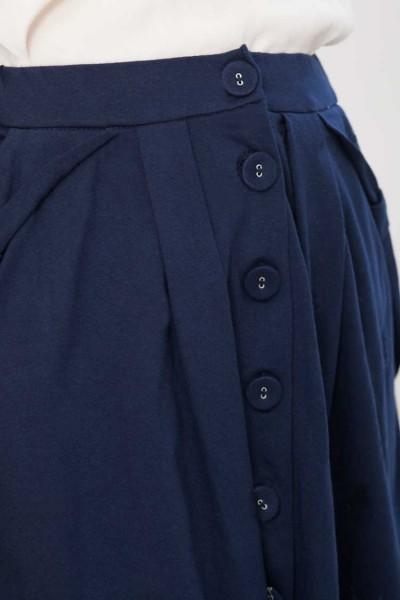 Falda botones Isa azul marino de algodón orgánico. Moda sostenible