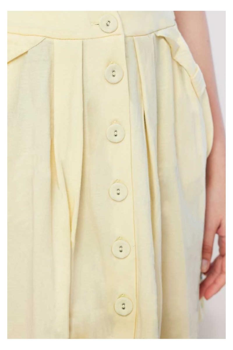 Falda botones Isa amarilla lisa