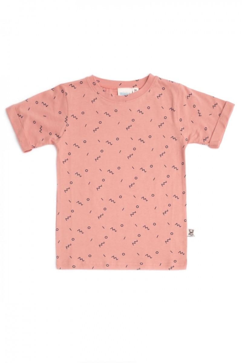 Camiseta unisex rosa con estampado abstracto