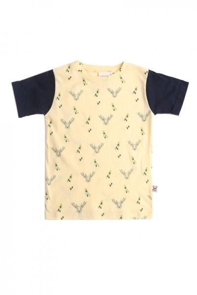 Camiseta unisex amarilla con estampado de ciervos