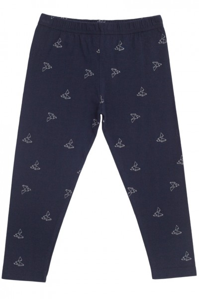 Legging azul marino con estampado de pájaros de origami