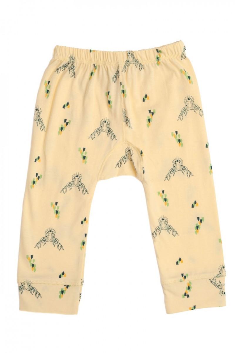 Pantalón bebé amarillo con estampado de ciervos