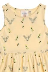 Vestido de tirantes amarillo con estampado de ciervos