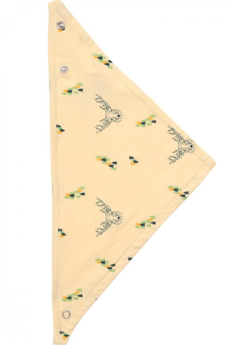 Babero reversible amarillo con estampado de ciervos