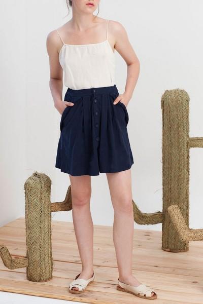 Falda botones Isa azul marino algodón organico