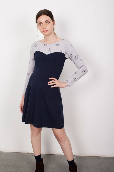 Yoke Navy Blue Laina dress