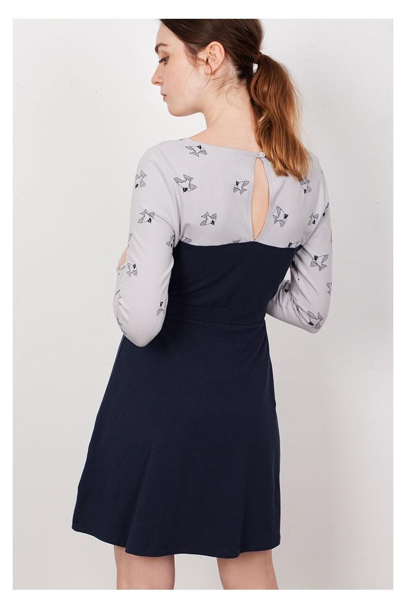 Vestido canesú Laina azul marino contrate