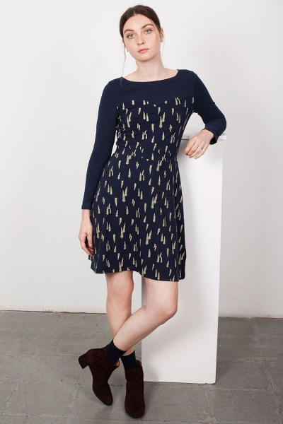 Yoke Leaves print Laina dress