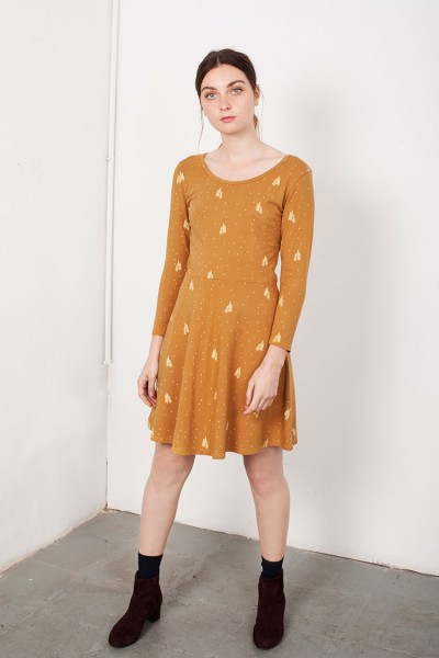 Mustard Mid-skirt Lorianne dress