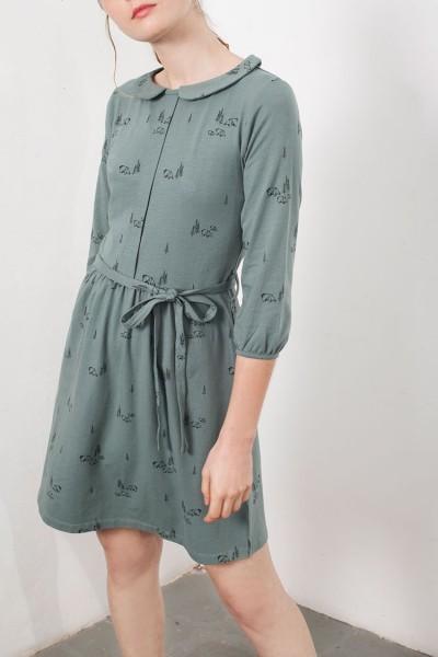 Vestido solapa Luana verde estampado