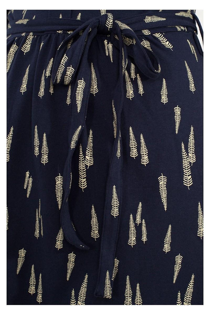 Vestido solapa Luana azul marino estampado