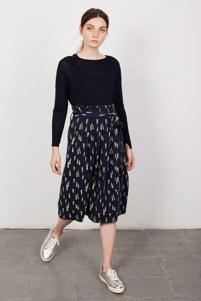 Lamar Navi Blue Plated Skirt