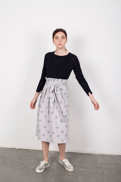 Lamar Grey Bird Print Plated Skirt