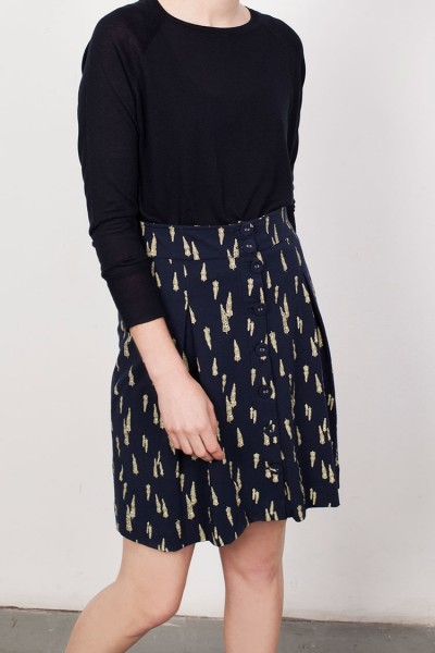 Navy Lane Short Buttoned Skirt