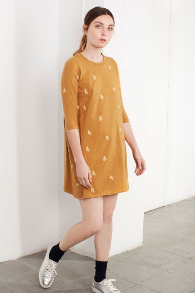 Vestido oversize Laura color mostaza estampado