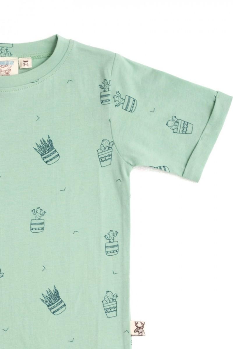 Camiseta unisex verde con estampado de cactus