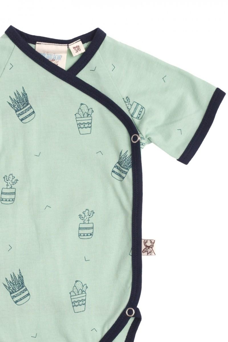 Body kimono verde con estampado de cactus