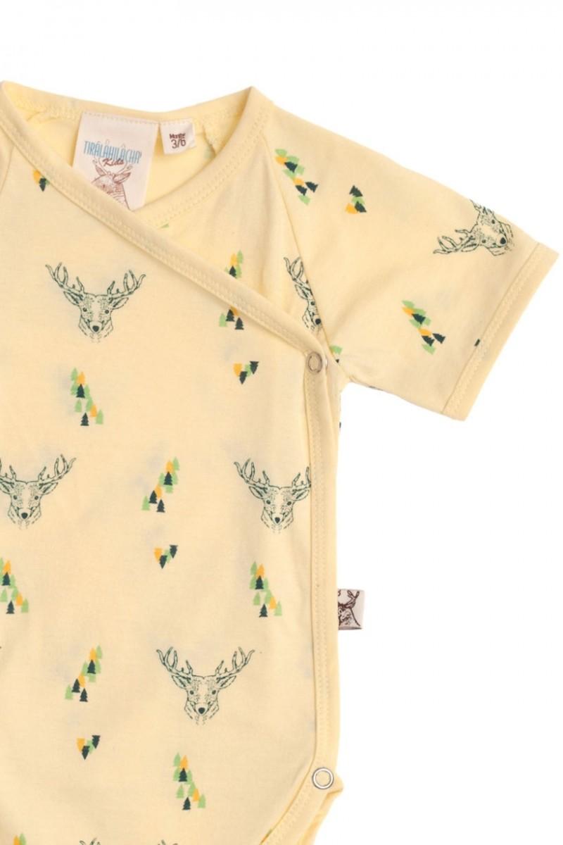 Body kimono amarillo con estampado de ciervos