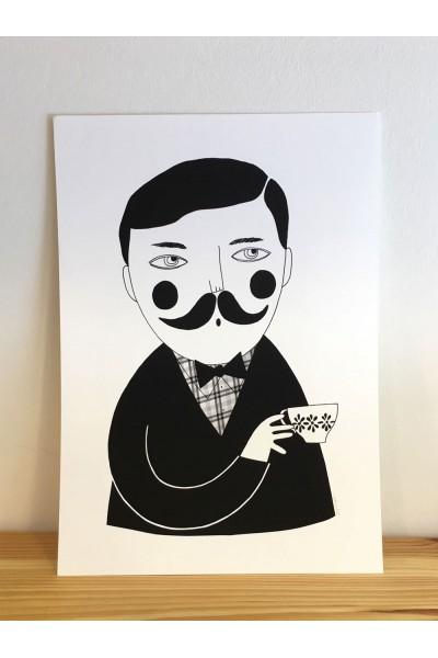 Ilustración hombre y té