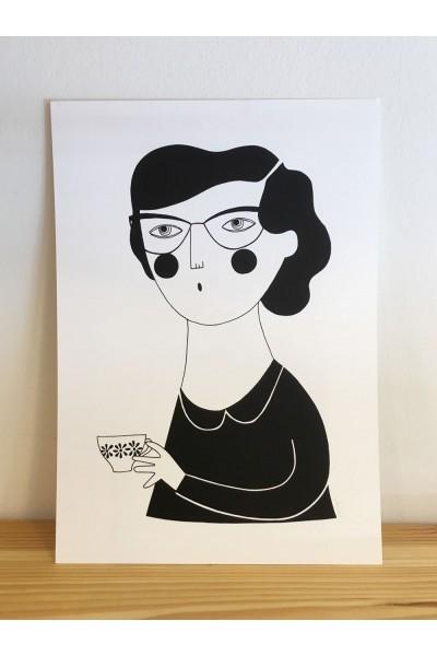 Ilustración mujer y té