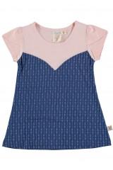 Blue flared dress with arrow print
