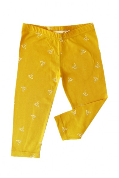 Yellow origami print leggins