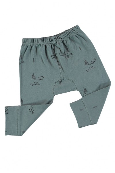 Pantalones bebé verde estampado origami de algodón organico