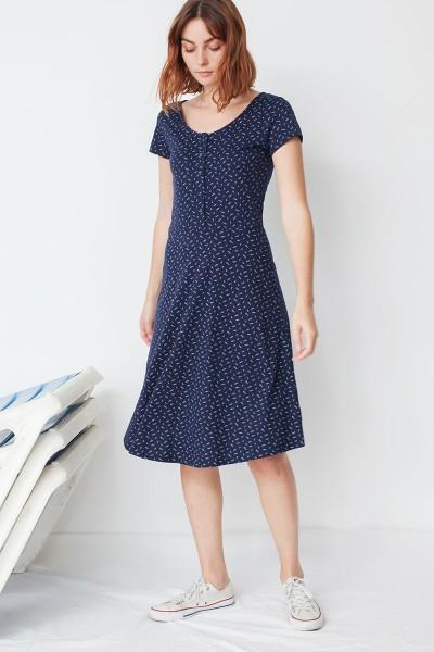 Vestido Mónica media capa estampado caracolas