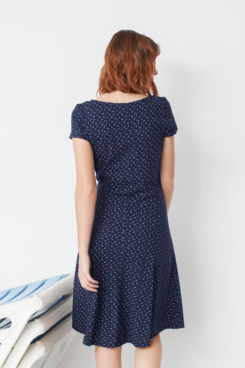 Vestido Mónica media capa estampado caracolas de algodón orgánico